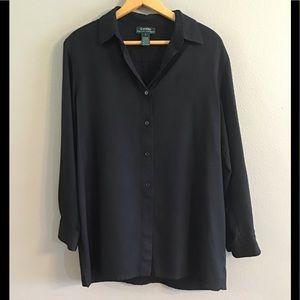 Lauren by Ralph Lauren black silk blouse